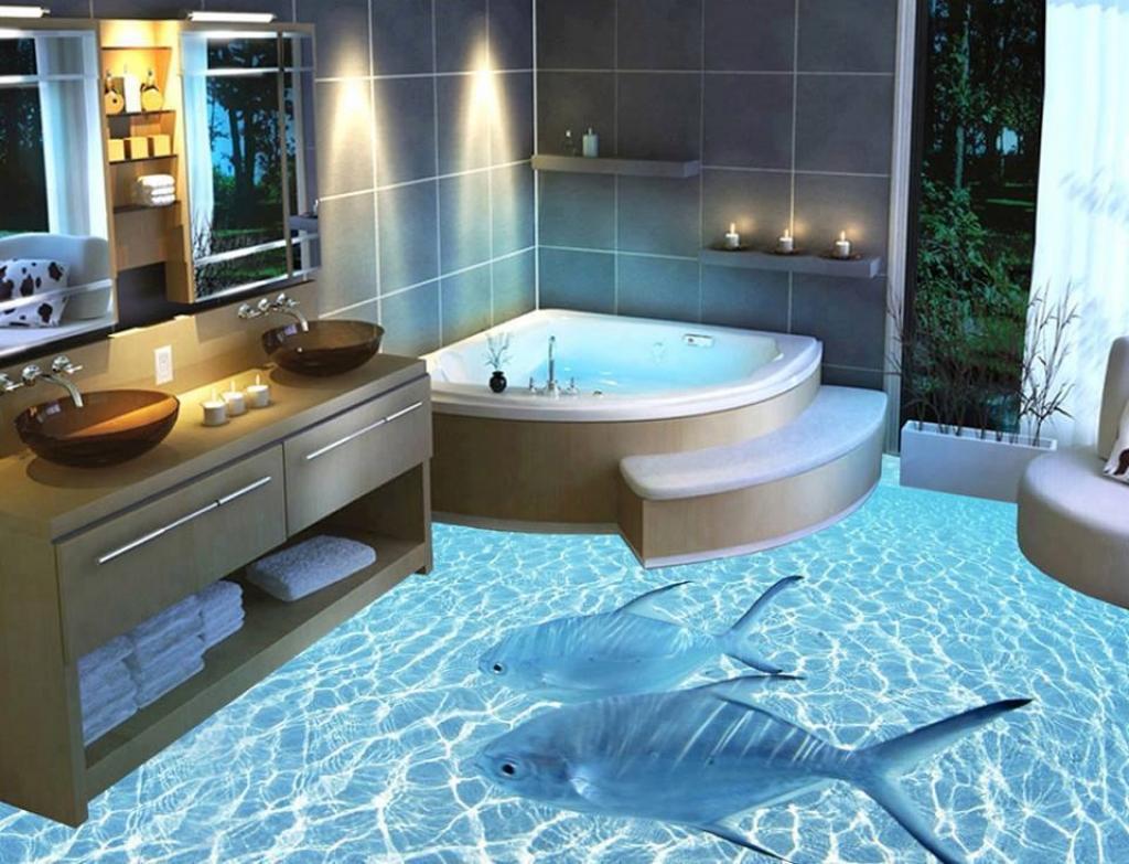 un designer transforme des planchers de salle de bain. le résultat