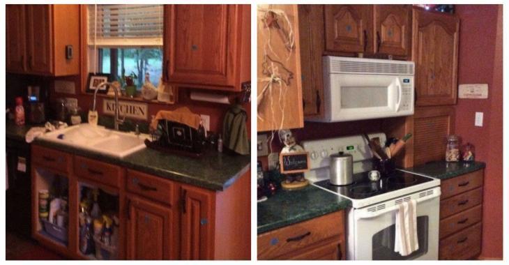 Avec un maigre budget d'à peine 200$, elle rajeunit sa cuisine démodée d'au moins 25 ans!