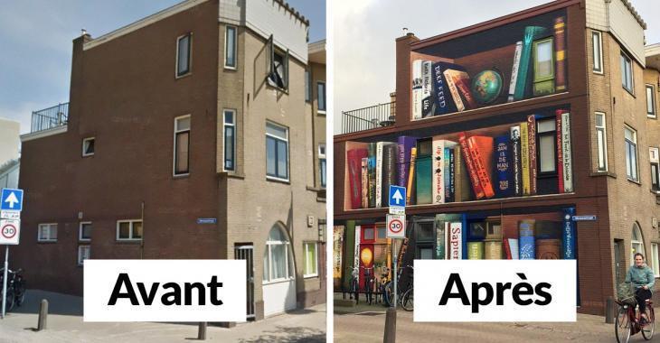 Des artistes néerlandais peignent une bibliothèque géante sur un immeuble et le résultat est impressionnant!