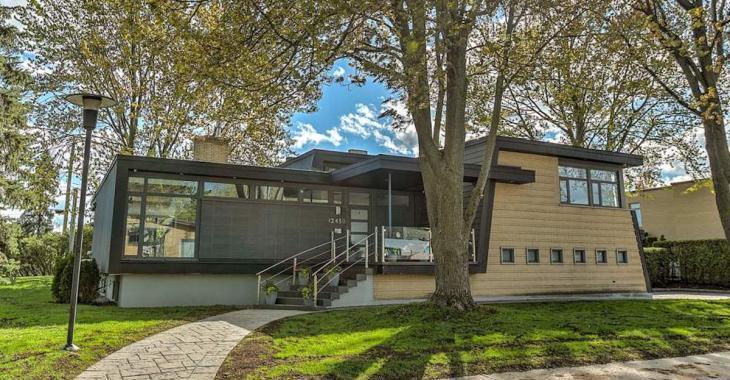 Lumineuse maison contemporaine à paliers avec fenestration spectaculaire!
