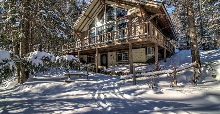 Au coeur d'un vaste terrain boisé privé, ce chalet suisse vendu meublé est l'endroit idéal pour profiter des plaisirs de la nature
