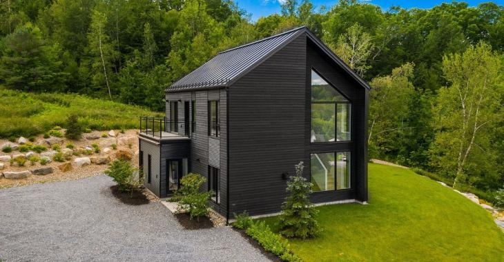Nichée sur une montagne, cette superbe maison de style scandinave impressionne avec ses belles grandes pièces et son architecture unique