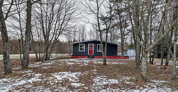 Mini bungalow à 89 000$ avec un intérieur étonnamment chaleureux pour le prix et un grand terrain paisible sans voisins à l'arrière