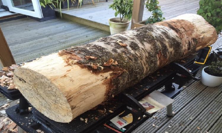 Un homme reçoit un tronc d'arbre brut en cadeau... Il en fait un accessoire rustique auquel on n'aurait jamais pensé